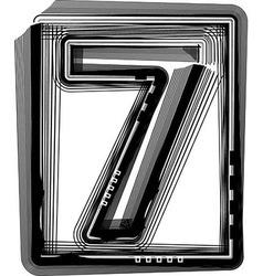 Striped font NUMBER 7 vector