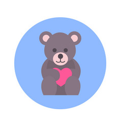 teddy bear holding heart icon on blue round vector image