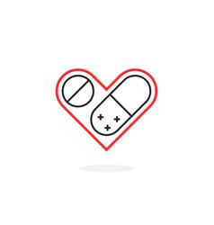 thin line medicine for heart logo vector image