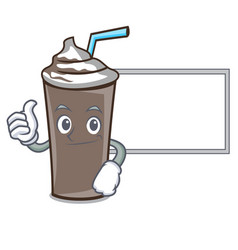 thumbs up with board ice chocolate character vector image