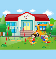 Two boys playing at school vector
