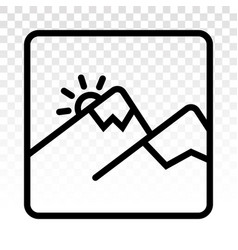 Two mountain peaks and snow with sunrise - line vector