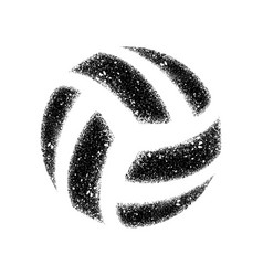 volleyball grunge dotted silhouette vector image