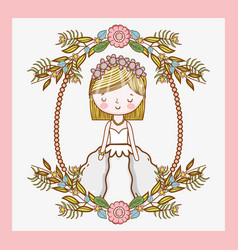 wedding woman with frame flowers plants leaves vector image
