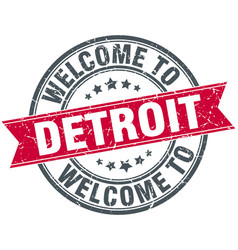 Welcome to detroit red round vintage stamp vector