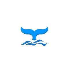 whale tail with waves for logo design vector image