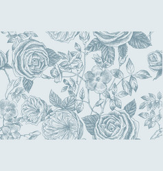 wild roses blossom branch seamless pattern vector image