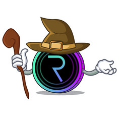 Witch request network coin mascot cartoon vector