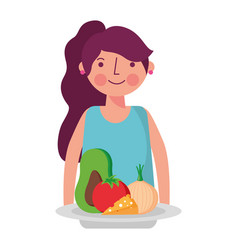 woman and food health vector image