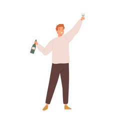 young celebrating man holding a bottle vector image