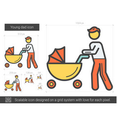Young dad line icon vector