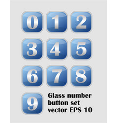 artistic number set blue buttons with metallic vector image vector image