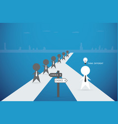 businessman walking out from the crowd with idea vector image