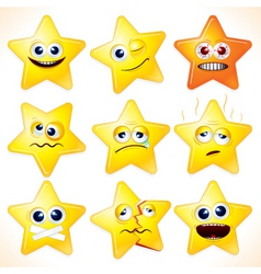 funny cartoon stars emotions vector image vector image