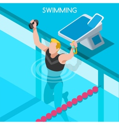 Swimming 2016 summer games isometric 3d vector