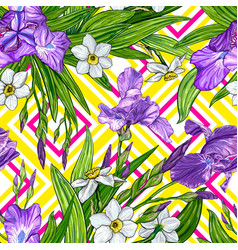 seamless pattern with iris and narcissus flowers vector image vector image