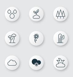 Set of 9 harmony icons includes cactus bush vector
