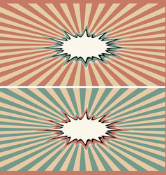 burst rays vintage comic book explosion color vector image