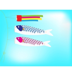 Couple Koi Flag hanging on a line in blue sky vector image