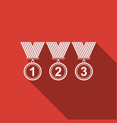Medal set icon with long shadow winner simbol vector