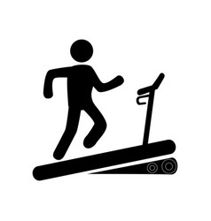 monochrome pictogram with man in treadmill vector image vector image
