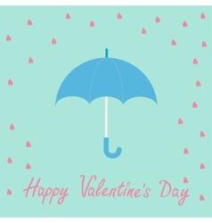 Pink heart rain with blue umbrella Flat design vector image vector image