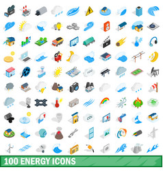 100 energy icons set isometric 3d style vector image