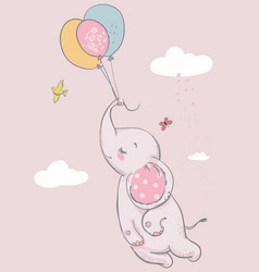 cute elephant with balloons vector image vector image