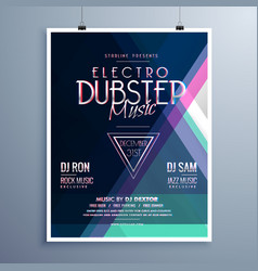 electro music party event flyer template vector image vector image