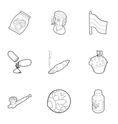 Hemp icons set outline style vector image vector image