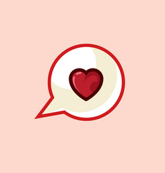Icon in style line work of heart message on vector