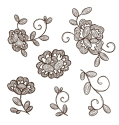 Old lace ornamental flowers vector image vector image