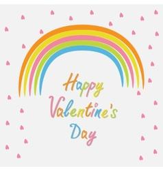 Rainbow and pink heart rain Flat design style vector image vector image
