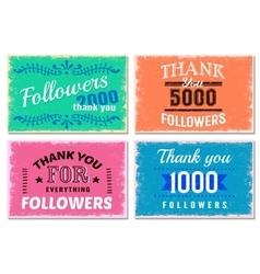 Thank you followers emblem set vector