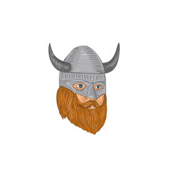 viking warrior head three quarter view drawing vector image vector image