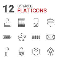 12 post icons vector image
