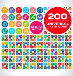 200 Universal Plain Icon Set 2 vector