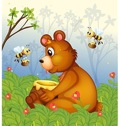 A bear and the pot of honey in the middle of the vector image