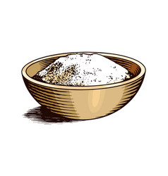 A cup sea salt set powdered powder and bunch vector