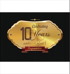 Anniversary golden background 10 years vector