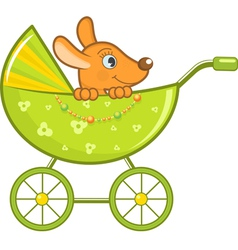 Baby animal in stroller vector