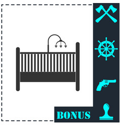 baby crib icon flat vector image
