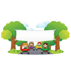 Banner template with kids racing car vector
