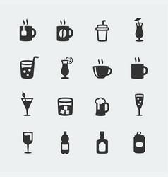beverages mini icons set vector image