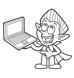 Black and white funny dracula mascot is holding a vector