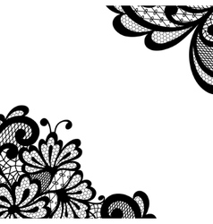 Black lace corner vector