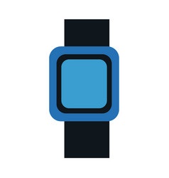 Blue smart watch wearable technology icon vector