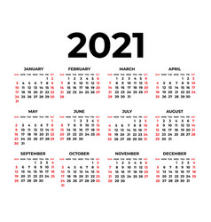 calendar for 2021 on white background vector image