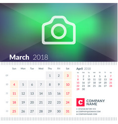 Calendar for march 2018 week starts on sunday 2 vector