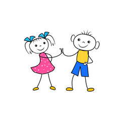 cartoon boy and girl holding hands and glad to be vector image